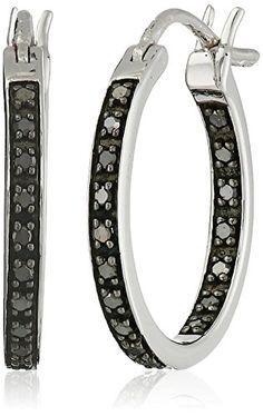"Sterling Silver Black Diamond Inside-Out Hoop Earrings (1/4 cttw, I2-I3 Clarity, 0.75"")"