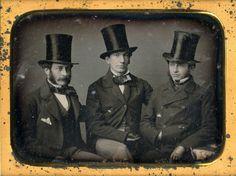 Daguerreotype, a portrait of Leverett Saltonstall, Jr., Charles Dabney, Jr., and unidentified companion, circa 1850.