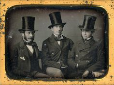 Daguerreotype, a portrait of Leverett Saltonstall, Jr., Charles Dabney, Jr., and unidentified companion, circa 1850.