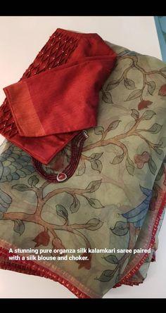 Blouse Designs High Neck, Cotton Saree Blouse Designs, Wedding Saree Blouse Designs, Kalamkari Saree, Silk Sarees, Saree Accessories, Saree Wearing Styles, Kurta Neck Design, Ethnic Sarees