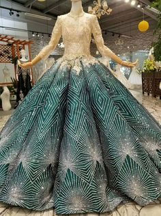 Gold Ball Gown Bling Bling V-neck Long Sleeve Wedding Dress Applique Wedding Dress, Wedding Dress Sleeves, Pretty Dresses, Beautiful Dresses, Crazy Dresses, Victorian Gown, Gala Dresses, Fantasy Dress, Queen