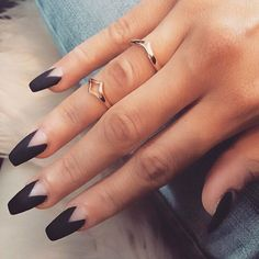 Matte black coffin nails with triangle base - you could also add a glittery gold, black or silver to one of the nails as an accent nail - this design also looks great on stiletto shape nails too #nailart...x