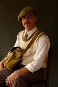 Mens vintage fashion at Goodwood Revival 2012 1930s satchel wool vest shirt sixpence