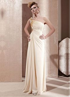 In Stock Graceful A-line One Shoulder Neckline Full Length Ruched Formal Dress With Beadings