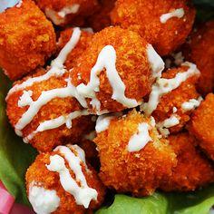 Buffalo Popcorn Chicken Recipe Main Dishes with boneless skinless chicken breasts, flour, salt, pepper, eggs, plain breadcrumbs, panko breadcrumbs, Franks Wings Sauce