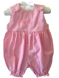 NEW Rosalina Pink Checked Romper with Rick Rack Trim (CC1482) from www.grammies-attic.com #Monogrammed Romper