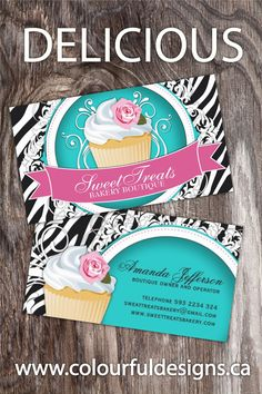 Sassy Customizable Cupcake Business Card Template. This modern and chic business card is bound to leave a lasting impression on your clients. All my cards are fully customizable. No expensive design fees here. Simply Love it & Customize it! Matching promotional items are also available.