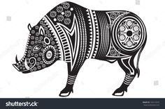 Vector illustration of wild totem animal - Boar