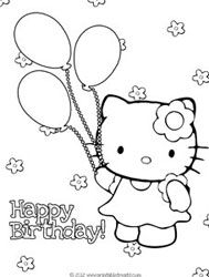 Hello Kitty Birthday Coloring Pages And Package With Crayons