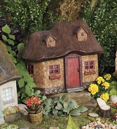Miniature Stucco Fairy Garden Cottage With Thatched Roof PLOW & HEARTH