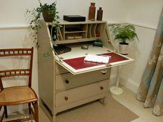 Beautiful Painted Vintage Shabby Chic Bureau Desk F&B