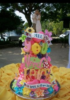 All you need is love wedding cake