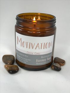We all have those days where we need to get motivated to do stuff and this candle will help you get motivated.  These scents are well known to help people boost their motivation along with Tiger's Eye in the candle. So get motivated with this crystal candle. Lemon ☓ peppermint ☓ sandalwood