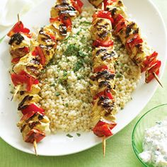 Yogurt-marinated Chicken Kebabs with Israeli Couscous