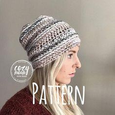 "Crochet Pattern // ""The Linden Beanie"" // Hat pattern /Crochet Pattern / hat pattern / beanie pattern / crochet by CozyMoonDesigns on Etsy Stitch Patterns, Knitting Patterns, Crochet Patterns, Hat Patterns, Crochet Scarves, Crochet Hooks, Free Crochet, Moon Design, Beanie Hats"
