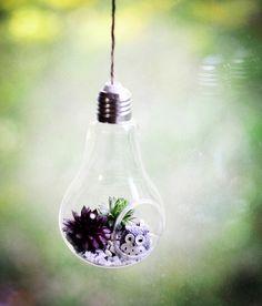 Transer Glowing Light Bulb Shape Stand Plant Flower Vase Silver