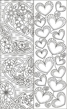 Coloring Bookmarks with Hearts – Coloring pages - Malvorlagen Mandala Heart Coloring Pages, Mandala Coloring Pages, Colouring Pages, Coloring Books, Detailed Coloring Pages, Free Adult Coloring, Printable Adult Coloring Pages, Diy Bookmarks, Free Printable Bookmarks