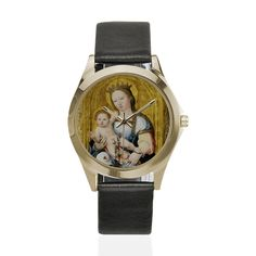 Religious gifts - Madonna and Child - Unisex Leather Watch - wrist watch - Virgin and Child - Catholic gifts - German School - Holy Art Catholic Gifts, Religious Gifts, Religious Art, Madonna And Child, Cord Bracelets, Watch Faces, German, Unisex, School