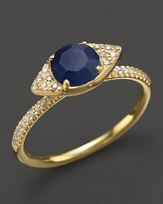 Meira T 14K Yellow Gold Blue Sapphire Evil Eye Ring with Diamonds_0