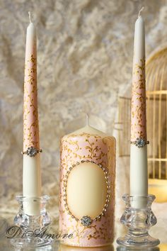 Blush pink & gold-painted handmade  Wedding Unity Candle. Set of 3. custom color