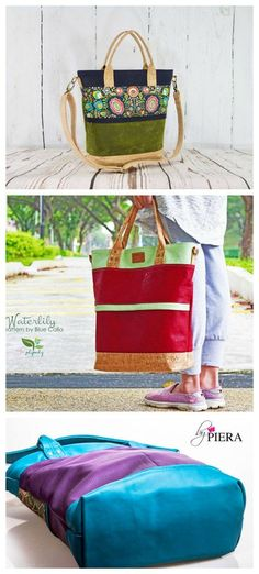 The Waterlily is a large sized tote that can be made in waxed canvas, cork, vinyl, regular cotton fabric or a combination of these materials.