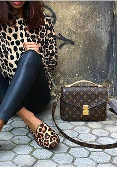 Leo blouse and flats with leather pants