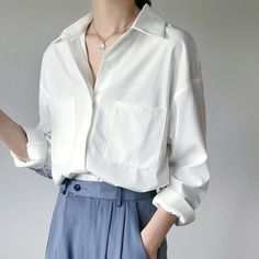 OL Style White Shirts for Women Turn-down Collar Pockets Women Blouse Tops Elegant Workwear Female Tops blusas femme 2019 Autumn - white XL Cheap Blouses, Blouses For Women, Women's Blouses, Blouse Online, White Shirts, Look Chic, Work Wear, Clothes, Female Tops