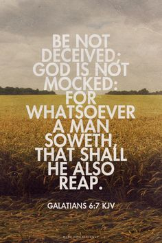 Be not deceived; God is not mocked: for whatsoever a man soweth, that shall he also reap. - Galatians 6:7 KJV