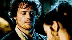 Love the intensity of his look... Jamie and Claire #Outlander The Way Out