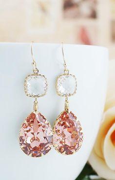 Vintage Rose Peach Swarovski Crystal Earrings from EarringsNation Peach Weddings