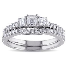 Miadora Signature Collection 14k Gold 1 1/5ct TDW Diamond 3-stone Bridal Ring Set