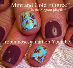 """""""short nail art"""" """"natural nail art"""" """"fall nails"""" """"fall nail art"""" """"fall filigree"""" """"autumn nails"""" """"fall nail trends"""" fall autumn filigree gold how to do it yourself robin moses"""