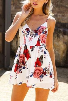 Spaghetti strap deep v-neck boho mini flare floral spring/summer casual day dress  Details    Polyester,Cotton  Chiffon  Imported  Delicate Cold Wash  FitsTrue To Size