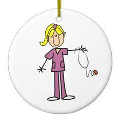Blond Female Stick Figure Nurse Christmas Tree Ornament