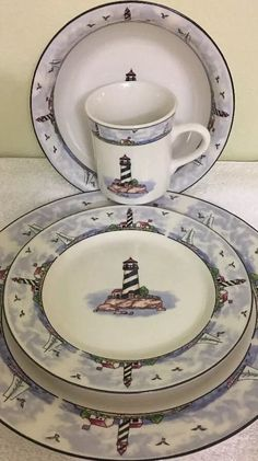 Light House 4 Piece Place Setting Ocean Birds Sailboat Dinnerware Made In China #Unbranded
