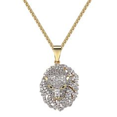 Panther Cheetah Iced Out Pendant Simulated Diamonds 14k Gold Finish Free Chain