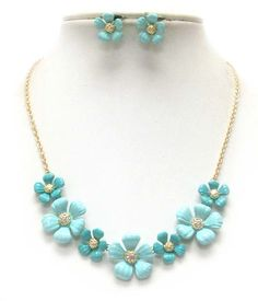 Blue and Crystal Flowers necklace.  $25.00