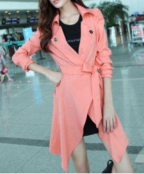 Modern Style Irregular Waistband Long Edition Solid Color Long Sleeve Polyester Coat For Women