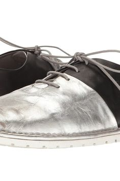 Marsell Gomma Bicolor Lace-Up Pull-On Oxford (Black/Silver) Men's Shoes - Marsell, Gomma Bicolor Lace-Up Pull-On Oxford, MMG013-34611, Footwear Closed General, Closed Footwear, Closed Footwear, Footwear, Shoes, Gift, - Street Fashion And Style Ideas