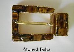 Women's Belt Buckle TIGER'S EYE Belt Buckle Gold by StonedBelts