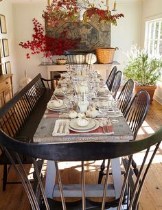 Nora Murphy's European garden-themed dining room has a simple and elegant look for fall. Live maple leaves and branches add color to the otherwise neutral palette. An antique bee skep and century European mural grace the room with history. Farmhouse Dining Room Table, Dining Room Table Decor, Dining Room Walls, Dining Room Sets, Dining Room Design, Dining Room Furniture, Room Decor, Room Chairs, Coaster Furniture