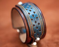 Leather bracelet blue and brown rock style