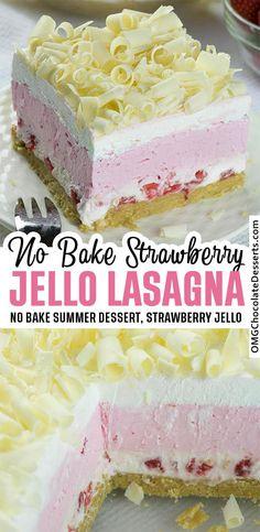 No Bake Strawberry Jello Lasagna is delicious layered dessert - twist on classic Strawberry Jello Pie. Must have summer dessert. Informations About No Bake Strawberry Jello Lasagna Pin You can easily Strawberry Jello Pie, Strawberry Sheet Cakes, Easy Strawberry Desserts, No Bake Summer Desserts, 13 Desserts, Chocolate Desserts, No Bake Strawberry Lasagna Recipe, Strawberry Breakfast, Alcoholic Desserts