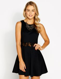 Lace Waist Slv Ponti Dress | Dotti