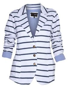 Cute Blazer.... Stripes, Heather Grey, or Black...love. saw something in reverse from BR