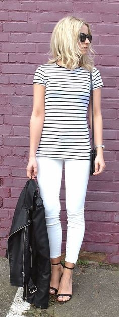 White Jeans Stripe Shirt Styling