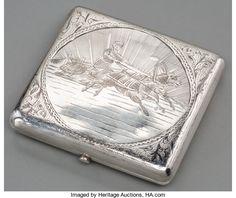 Silver Smalls:Cigarette Cases, A Russian Partial Gilt Silver and Niello Cigarette Case, Moscow,early 20th century. Marks: (84-kokoschnik), CEC, (i...