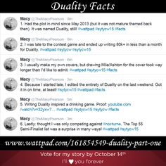A few facts about Duality, compiled from Twitter. Duality: https://www.wattpad.com/161854549-duality-part-one #wattpad #writing #sytycw #duality #facts
