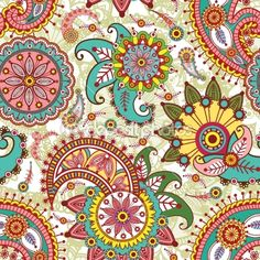 Seamless pattern with paisley and flowers — Imagen vectorial #8043425