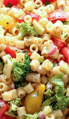 Marinated vegetable pasta salad, a great way to pack in the health benefits of veggies and carbs